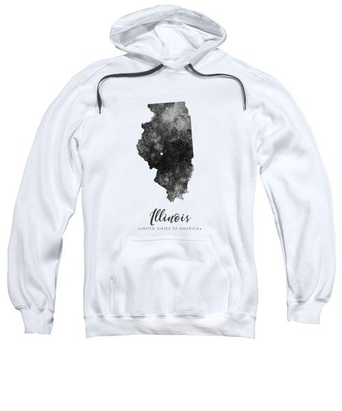 Illinois State Map Art - Grunge Silhouette Sweatshirt