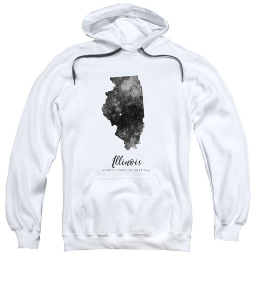 Illinois State Map Art - Grunge Silhouette Sweatshirt