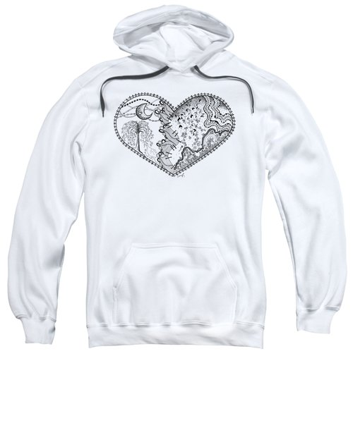 Sweatshirt featuring the drawing Repaired Heart by Ana V Ramirez