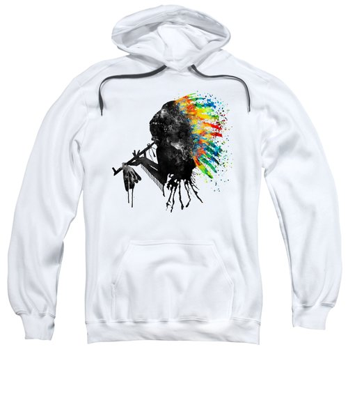 Indian Silhouette With Colorful Headdress Sweatshirt by Marian Voicu