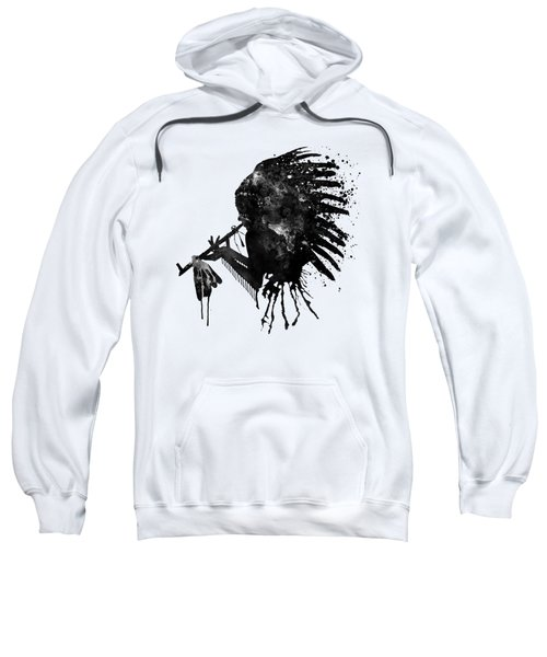 Indian With Headdress Black And White Silhouette Sweatshirt