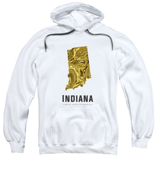 Indiana Map Art Abstract In Gold Yellow Sweatshirt