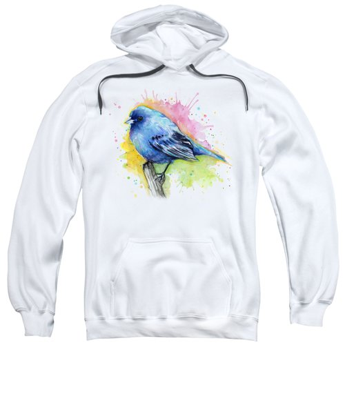 Indigo Bunting Blue Bird Watercolor Sweatshirt by Olga Shvartsur