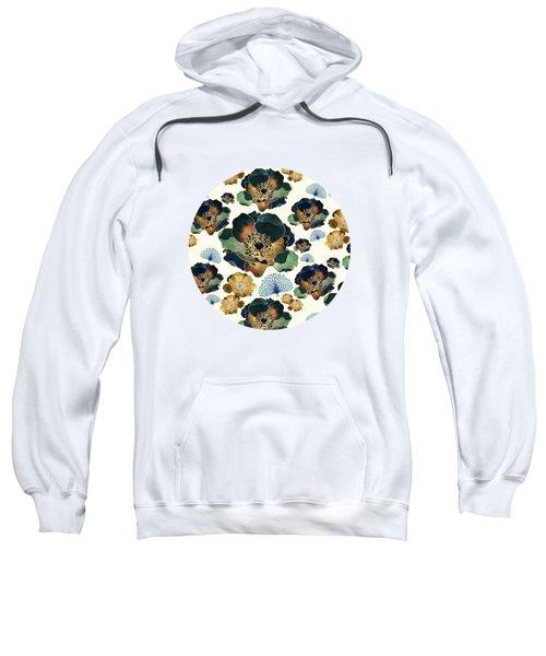 Indigo Flowers And Peacocks Sweatshirt
