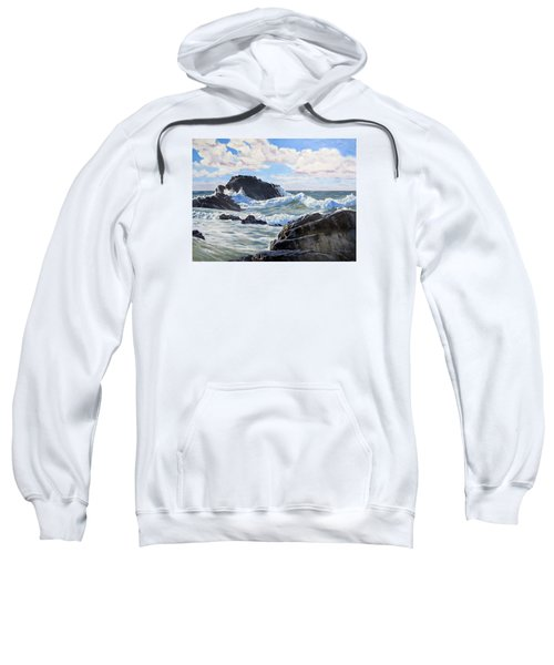 Sweatshirt featuring the painting Indomitable Rock by Lawrence Dyer