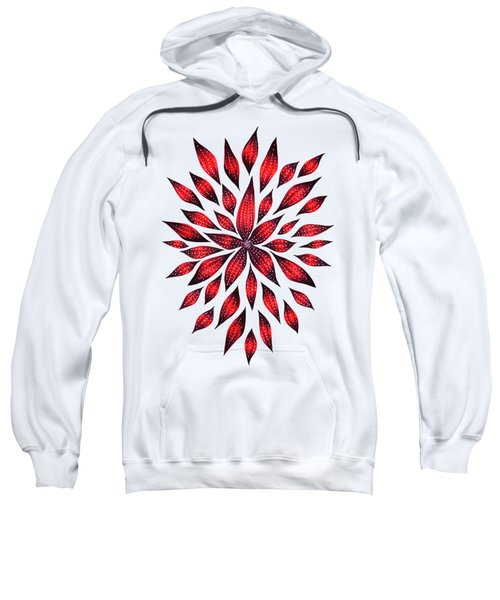 Ink Drawn Abstract Red Doodle Flower Sweatshirt