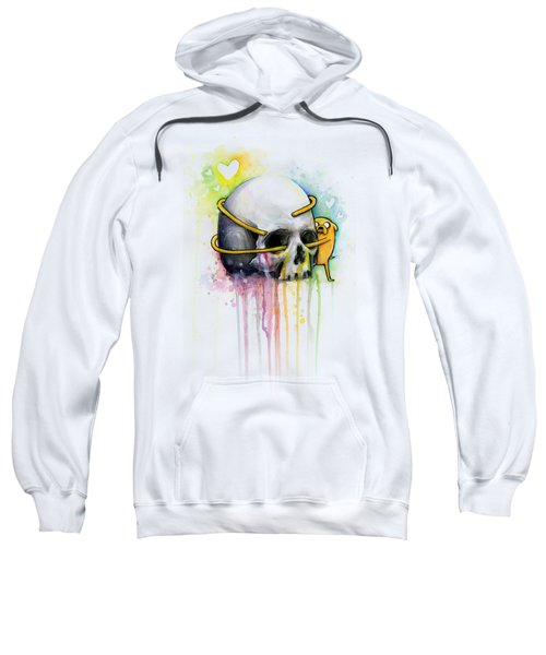 Jake The Dog Hugging Skull Adventure Time Art Sweatshirt
