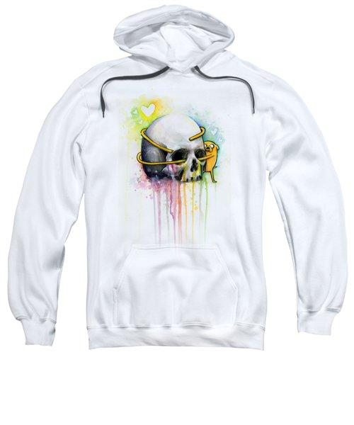 Jake The Dog Hugging Skull Adventure Time Art Sweatshirt