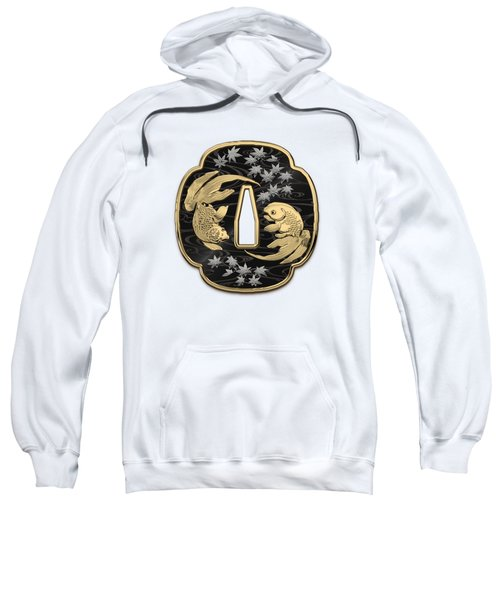 Japanese Katana Tsuba - Twin Gold Fish On Black Steel Over White Leather Sweatshirt