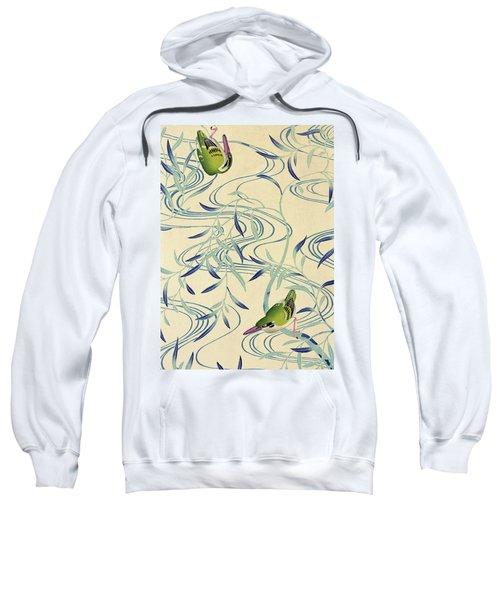 Japanese Style River And Nightingale Modern Interior Art Painting. Sweatshirt