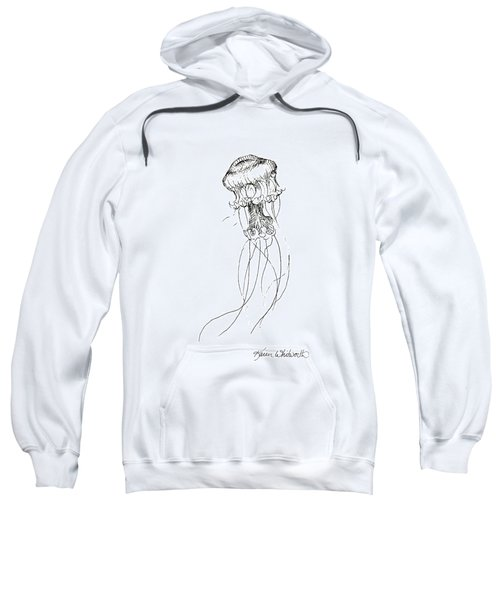 Jellyfish Sketch - Black And White Nautical Theme Decor Sweatshirt