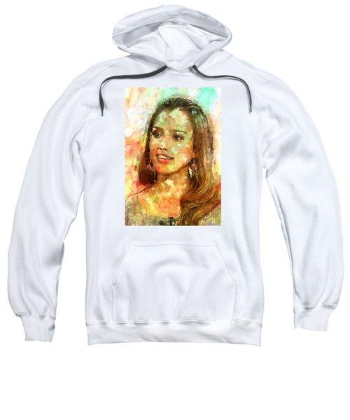 Jessica Alba Sweatshirt by Elena Kosvincheva