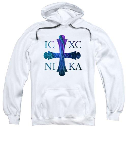 Jesus Christ Victor Cross With Sunrise Reflection Fractal Abstract Sweatshirt