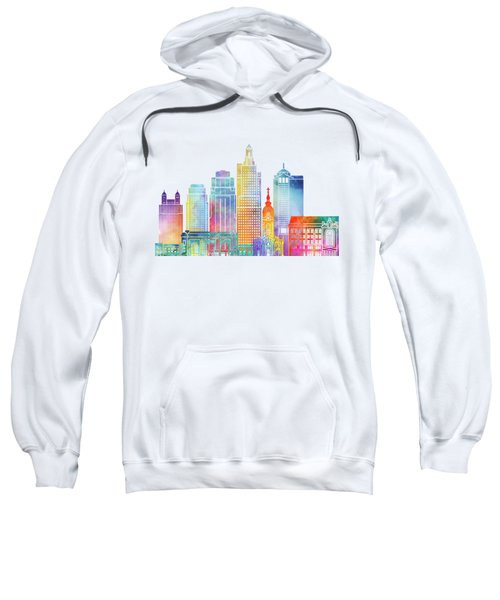 Kansas City Landmarks Watercolor Poster Sweatshirt