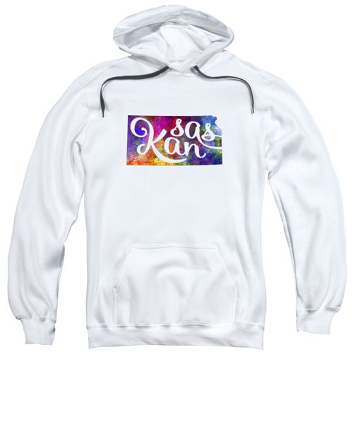 Kansas Us State In Watercolor Text Cut Out Sweatshirt