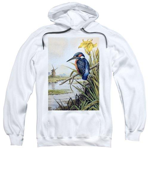 Kingfisher With Flag Iris And Windmill Sweatshirt
