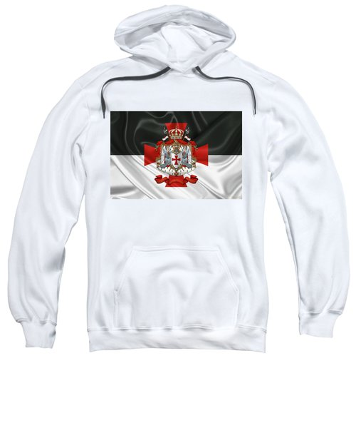Knights Templar - Coat Of Arms Over Flag Sweatshirt by Serge Averbukh