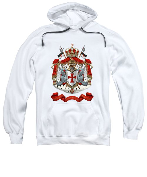 Knights Templar - Coat Of Arms Over White Leather Sweatshirt by Serge Averbukh