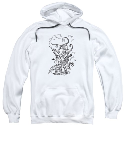 Koi Fish And Water Waves Sweatshirt by Laura Ostrowski