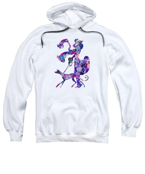 Lady Dog Walker Splashes Transparent Background Sweatshirt
