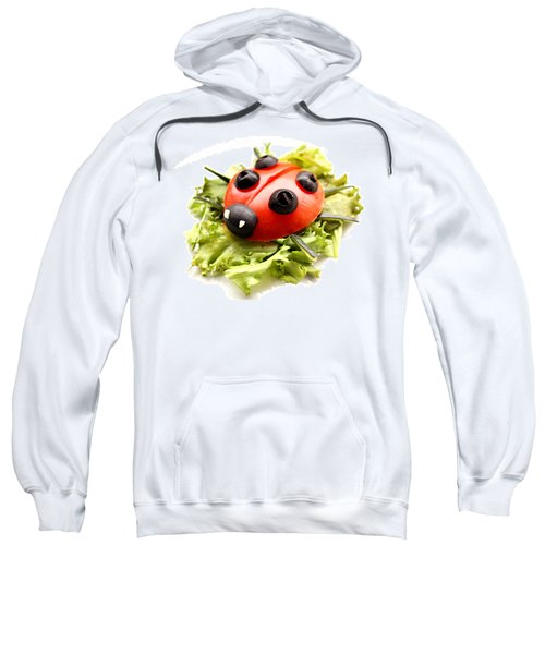 Ladybug Made Of Raw Tomato On Lettuce Leaf Sweatshirt