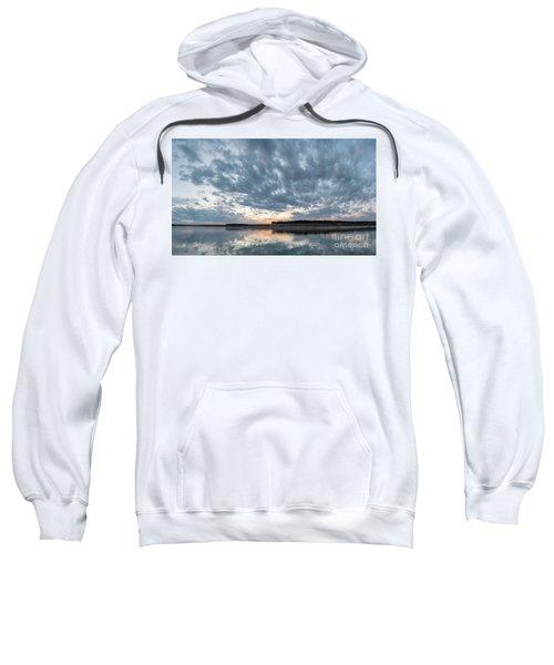 Large Panorama Of Storm Clouds Reflecting On Large Lake At Sunse Sweatshirt