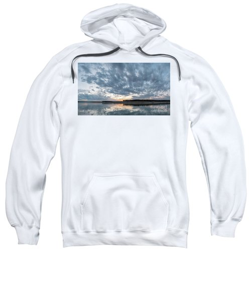 Large Panorama Of Storm Clouds Reflecting On Large Lake At Sunse Sweatshirt