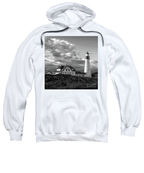 Late Afternoon Clouds, Portland Head Light  -98461-sq Sweatshirt
