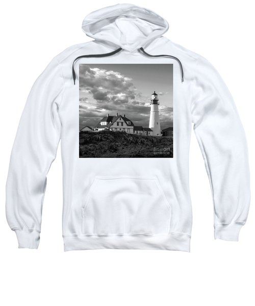 Late Afternoon Clouds, Portland Head Light  -98461-sq Sweatshirt