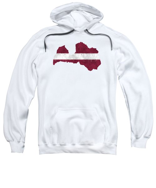 Latvia Map Art With Flag Design Sweatshirt
