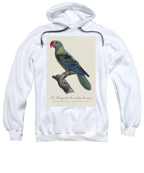 Le Perroquet A Bec Couleur De Sang / Great-billed Parrot - Restored 19thc. Illustration By Barraband Sweatshirt