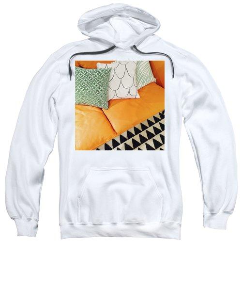 Leather Sofa With Ornamental Cushions Sweatshirt by GoodMood Art