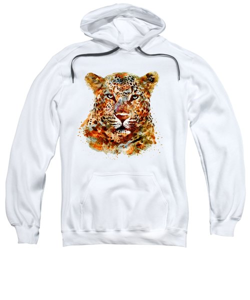 Leopard Head Watercolor Sweatshirt by Marian Voicu