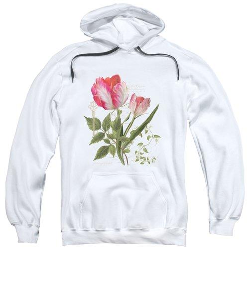Les Magnifiques Fleurs I - Magnificent Garden Flowers Parrot Tulips N Indigo Bunting Songbird Sweatshirt