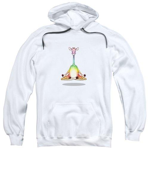 Levitating Meditating Rainbow Giraffe Sweatshirt