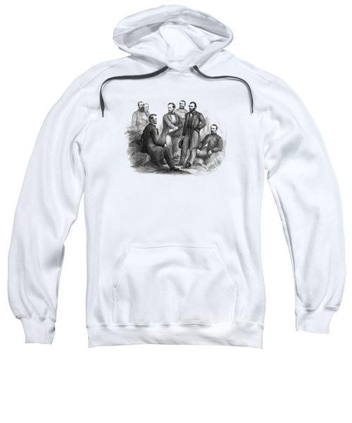 Lincoln And His Generals Black And White Sweatshirt