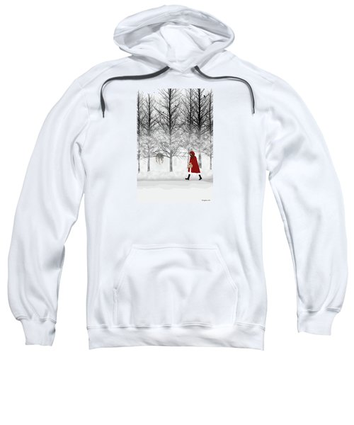 Sweatshirt featuring the digital art Little Red by Nancy Levan