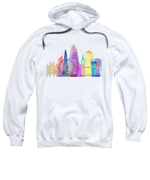 London Landmarks Watercolor Poster Sweatshirt