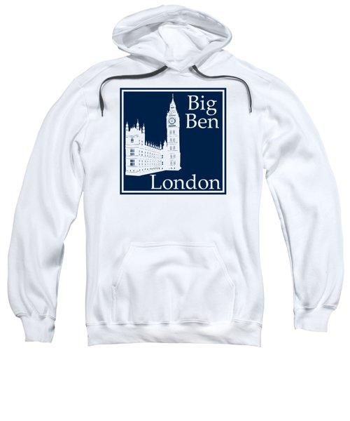 London's Big Ben In Oxford Blue Sweatshirt by Custom Home Fashions