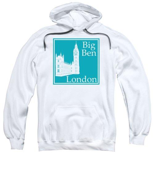 London's Big Ben In Robin's Egg Blue Sweatshirt by Custom Home Fashions