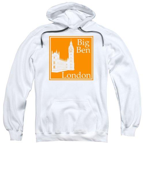 London's Big Ben In Tangerine Sweatshirt by Custom Home Fashions