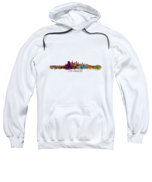 Los Angeles City Skyline Hq V2 Sweatshirt by HQ Photo