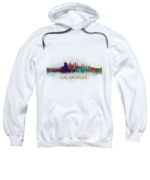 Los Angeles City Skyline Hq V4 Sweatshirt by HQ Photo