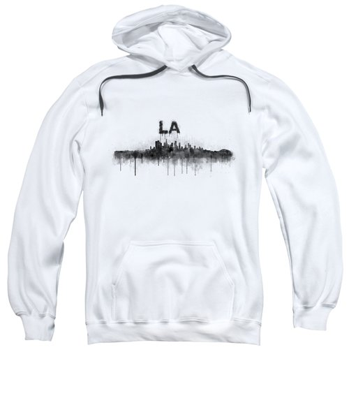 Los Angeles City Skyline Hq V5 Bw Sweatshirt by HQ Photo