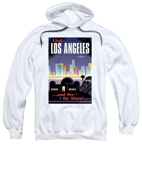 Los Angeles Retro Travel Poster Sweatshirt by Jim Zahniser