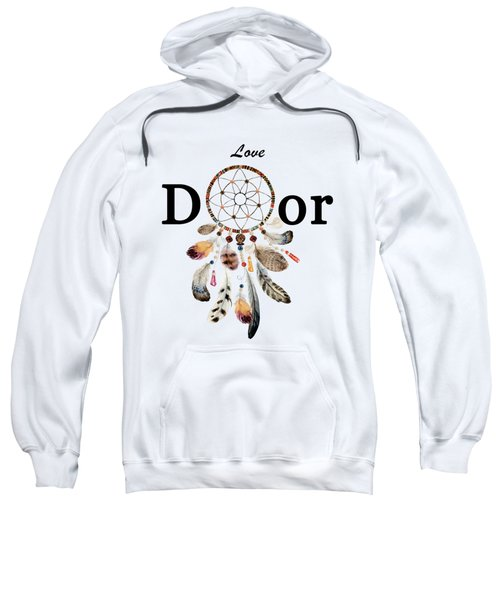 Sweatshirt featuring the painting Love Dior Watercolour Dreamcatcher by Georgeta Blanaru