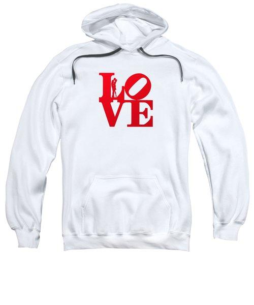 Love Typography - Red On White Sweatshirt