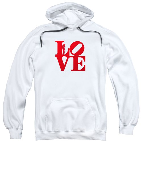 Love Typography - Red On White Sweatshirt