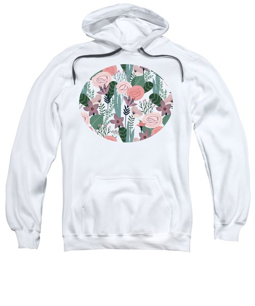 Lovely Mid Century Rose Garden Flower Pattern Sweatshirt