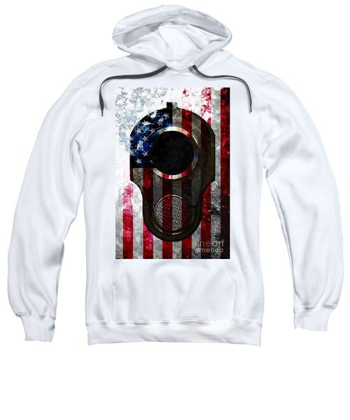 M1911 Colt 45 Muzzle And American Flag On Distressed Metal Sheet Sweatshirt